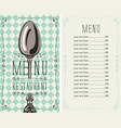 checkered menu for restaurant with price and spoon vector image vector image