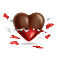 chocolate heart in torn red foil pack valentines vector image vector image