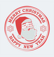 christmas round print of red hue with a silhouette vector image vector image