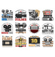 cinema and movie theater film making icons vector image vector image
