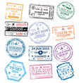 Collection passport stamps isolated on white