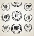 collection vip label with laurel wreath retro vector image vector image