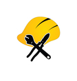 construction tin hat with tools vector image vector image