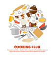 cooking club promo poster with kitchenware and vector image