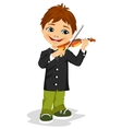 cute boy playing violin vector image vector image