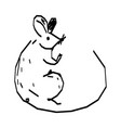 cute hand drawn rat vector image vector image