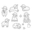 cute outline doodle sheep jumps hand drawn vector image vector image