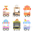 delicious street fast food mobile bright carts set vector image