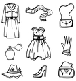 Doodle of girl clothes hand draw vector image