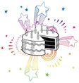 doodle pop cake birthday vector image vector image