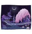 Fantasy nightly landscape on the riverside vector image vector image