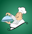 Funny fat chef holds a dish vector image vector image