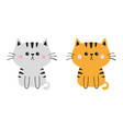 gray orange cat sad head face silhouette set cute vector image