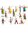 group fishermans fishing with fish set of fishing vector image vector image