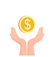 hands with money coin flat icon vector image vector image