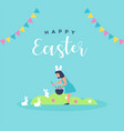 happy easter card girl with spring rabbit vector image
