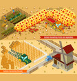 isometric farming horizontal banners vector image vector image