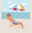 man lies on the deck chair vector image vector image