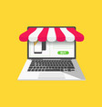 online shop concept with open laptop vector image vector image