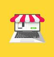 online shop concept with open laptop vector image