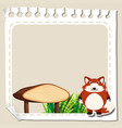 paper template with red fox vector image vector image