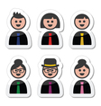 People in business clothes tie icons set vector image vector image