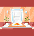 pizza on doorstep house vector image
