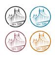 queensboro bridge in new york labels set vector image