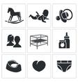Raising a child Icons Set vector image