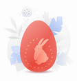 red easter egg with rabbit silhouette vector image vector image