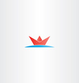 red paper boat in sea water logo vector image vector image