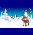 reindeer on a winter background greeting card vector image vector image