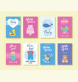 set babyshower greeting and invitation card vector image vector image