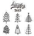 set of christmas trees flat icons vector image vector image