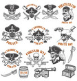 set pirate emblems isolated on white vector image vector image