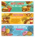 sketch banner fast food restaurant menu vector image vector image