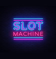 slot machine sign design template slot vector image vector image