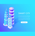 smart city skyscrapers with helicopter landing vector image