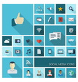 Social icons with long shadow vector image vector image