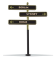 Street sign showing cities vector image vector image