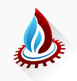 symbol fire with gear Blue and red flame glass vector image vector image