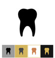 tooth icon dental teeth silhouette symbol on gold vector image