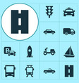 transportation icons set collection of road sign vector image vector image