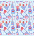 valentine day blue and red seamless pattern flat vector image vector image