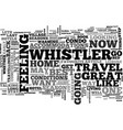 whistler back in the saddle text word cloud vector image vector image