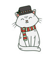 white cat with hat and scarf celebration merry vector image vector image
