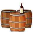 Wine bottle on wooden barrels vector image vector image