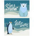 winter greeting postcard bear and penguin vector image vector image