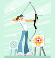 woman shooting a bow vector image vector image