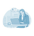 working in office vacations travel concept vector image vector image